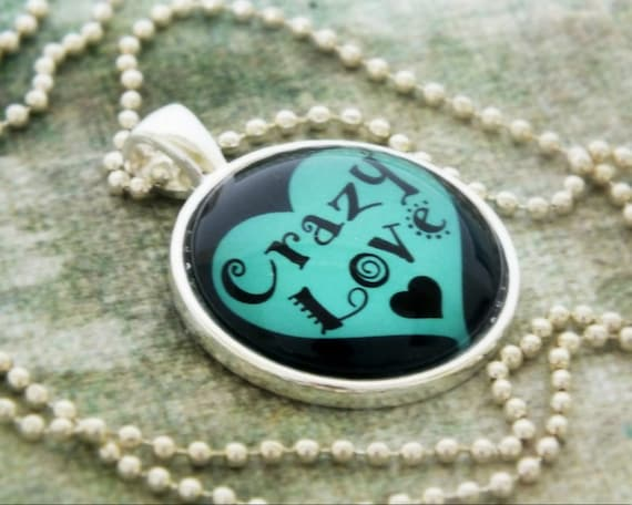 Crazy Love Blue Aqua Teal Black Heart Valentine's Day Gift Crazy In Love Fun Whimsical Romantic Anniversary Gift for Her Gift for Him Unisex