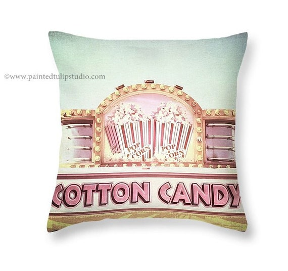 Whimsical Popcorn Cotton Candy Shades of Pink and White with an Aqua Teal Sky Fine Art Photo Square Pillow Fine Art Photography Home Decor