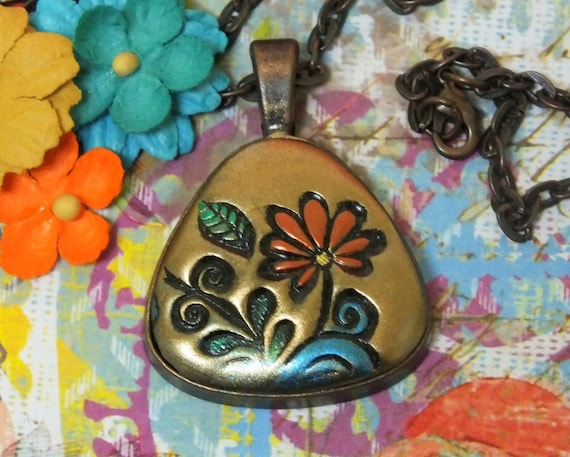Orange Daisy Flower Hippie Boho Chic Pendant Necklace Polymer Clay