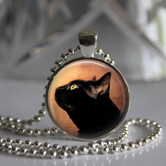 Black Cat Photo Pendant Necklace Jewelry