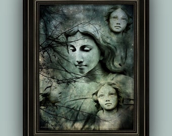 Forest Woodland Guardian Angels Surreal Dreamlike Ethereal Fantasy Angel Art, Teal Aqua Mint Black Fine Art Print or Wrapped Canvas