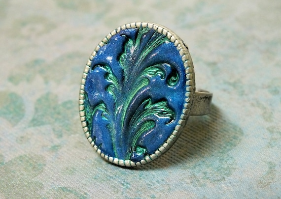 Royal Blue Green Art Nouveau Statement Ring