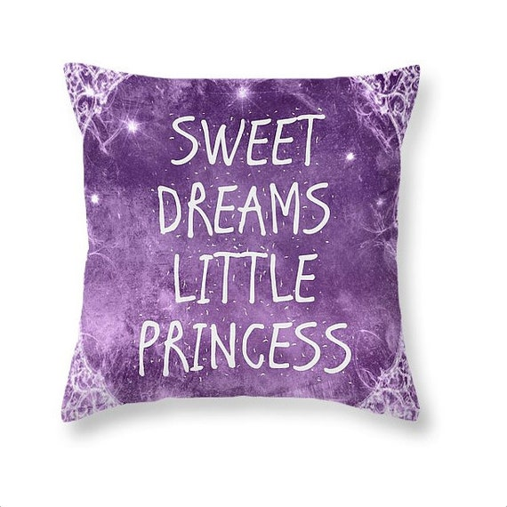 Sweet Dreams Little Princess Purple and White Pillow for Girls Home Decor and Nursery