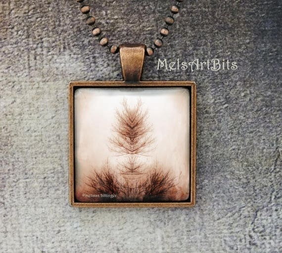 Surreal Spiritual Tree Branch of Life Inkblot Rorschach Mirror Image Sepia Brown Tones Digital Photo Art Pendant Necklace