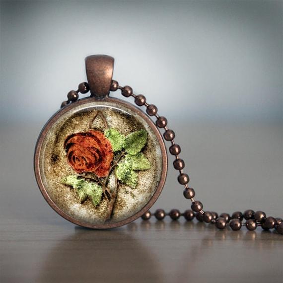 Cemetery Rose Headstone Pendant Necklace