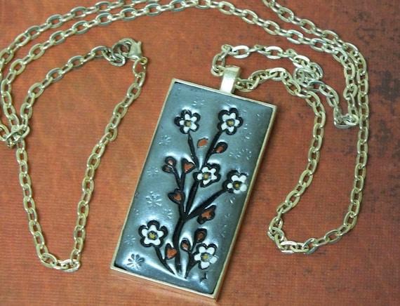 Flowering Cherry Blossom Tree Japanese Asian Inspired Pendant Necklace