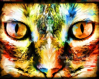 Psychedelic Kitty Cat Rainbow Colors Tie Dye Look Surreal Fantasy Portrait Fine Art Giclee Print or Canvas