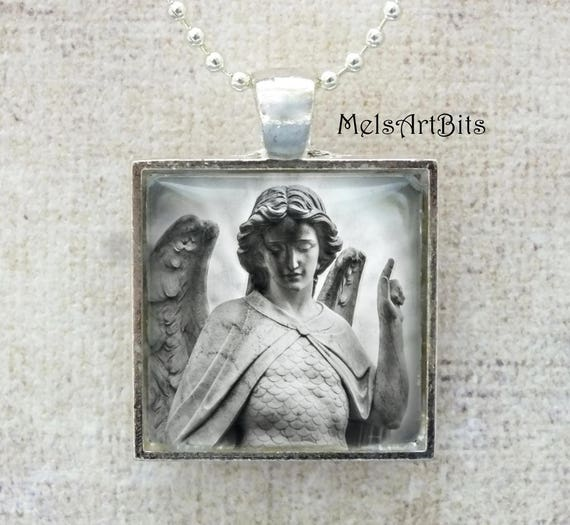 St. Michael Archangel Black and White Guardian Angel Inspirational Faith Religious Fine Art Photography Pendant Necklace Grief Mourning