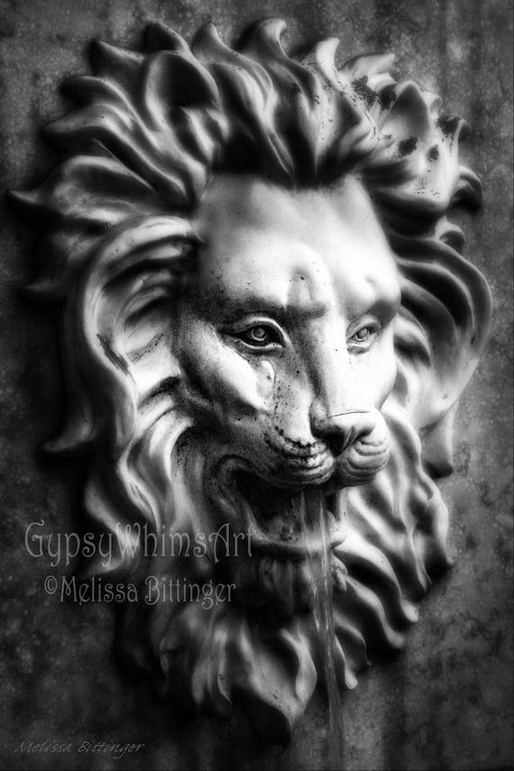 Gothic Black and White Lion Head Wall Fountain, Savannah Georgia, Fine Art Photography Giclee Print or Canvas