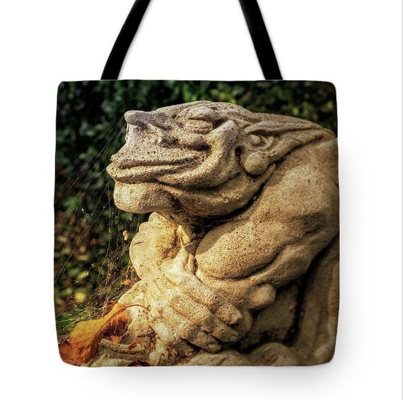 Cute Goth Gargoyle Halloween Canvas Tote Bag, Gothic Tote,Whimsical, Book Bag,Reusable Shopping Bag, Farmer's Market Tote bag