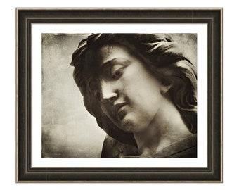 Sepia Archangel Saint Michael Face of an Angel, Religious Symbol Faith Protection Fine Art Print or Giclee Gallery Wrap Canvas