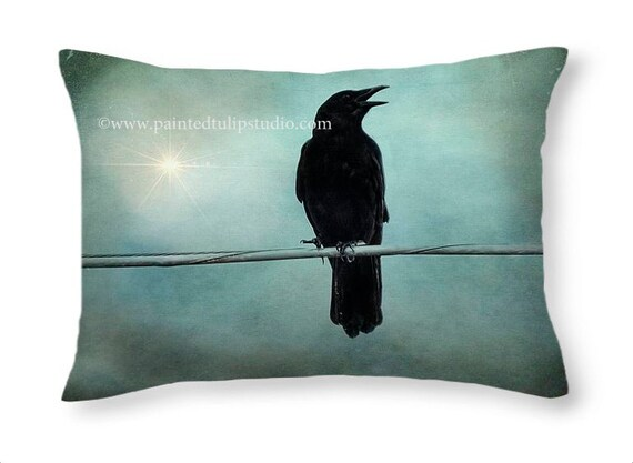 Gothic Crow Raven Blackbird Magic Spell, Teal Aqua Sky, Accent or Travel Pillow, Rectangle Pillow with Fine Art Photography Home Decor