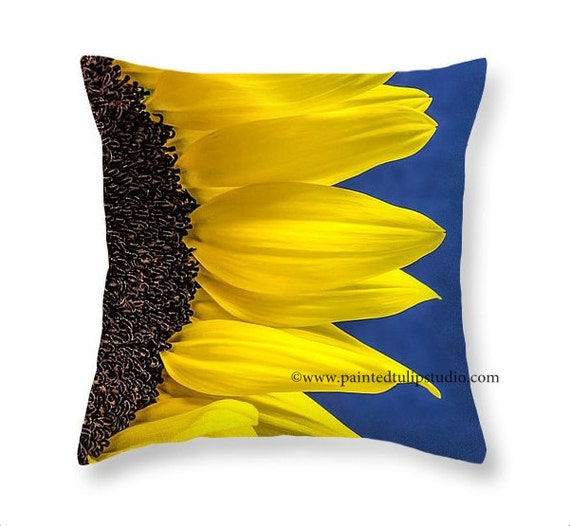 Sunflower Closeup Floral Bright Yellow and Cobalt Blue Square Accent Pillow Fine Art Photography Home Decor