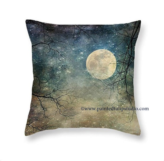 Surreal Magical Fantasy Night Sky Moon and Stars, Tree Branches, Blues and Earth Tones  Square Pillow Fine Art Photography Home Decor