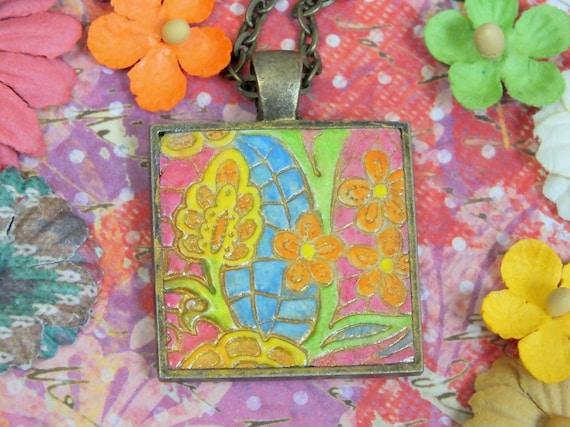 Retro Hippie Flowers Pendant Necklace Polymer Clay