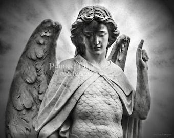 Black and White Archangel Saint Michael Heavenly Figure Celestial Faith Guardian Angel Fine Art Photo Print or Gallery Canvas Wrap Giclee