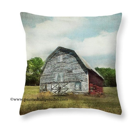 Rustic Weathered Barn Red and Gray, Architecture Old Barn Rural North Carolina Square Pillow Fine Art Photography Home Decor