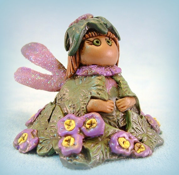 Fairy Garden Pixie Violet Polymer Clay OOAK Sculpture