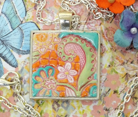 Boho Hippie Pastel Whimsical Hippie Flowers Pendant Necklace Polymer Clay