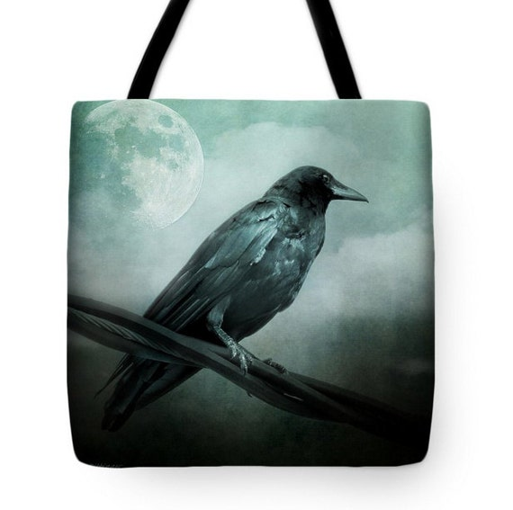 Raven Black Crow Full Moon Teal Sky Canvas Tote Bag, Surreal Gothic Book Bag, School Bag, Reusable Shopping Bag, Farmer's Market Tote bag