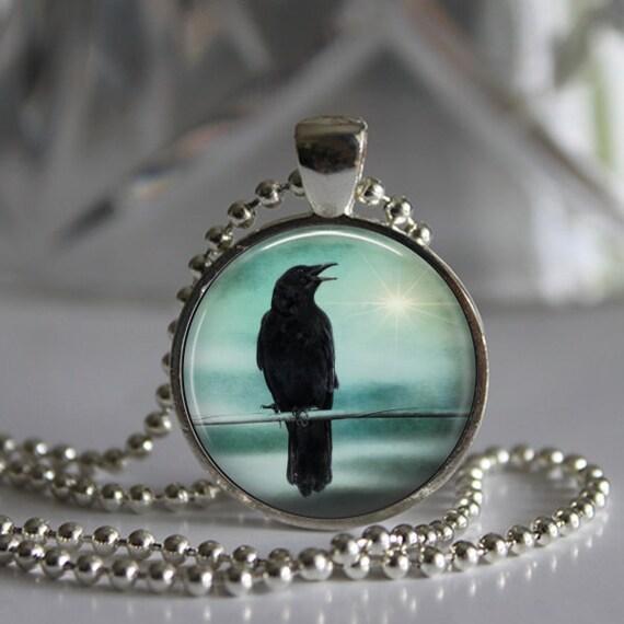 Raven Crow Surreal Magical Teal Blue Sky / Black Bird  Photo / Art Pendant Necklace / Photo Pendant Necklace Jewelry