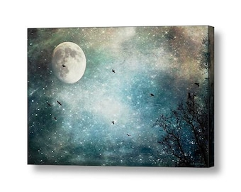 Gothic Surreal Raven Crows Landscape Moonlight Moon Fantasy Magic in the Air Fine Art Print or Gallery Wrap Canvas Giclee