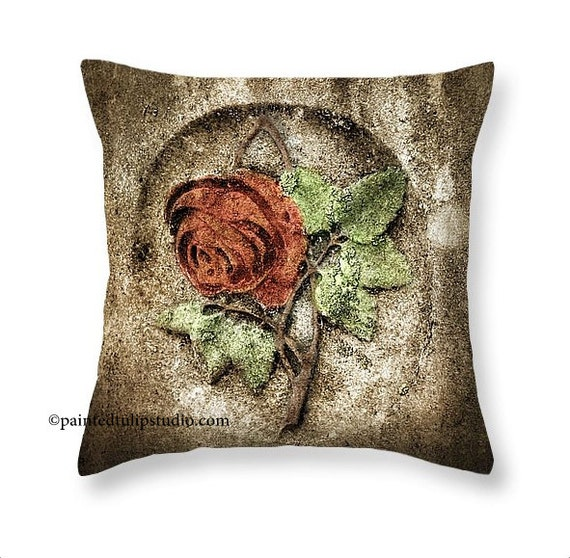 Cemetery Rose Gravemarker Headstone Goth Decor, Red Rose Thorns Graveyard, Square Pillow Fine Art Photography Home Decor