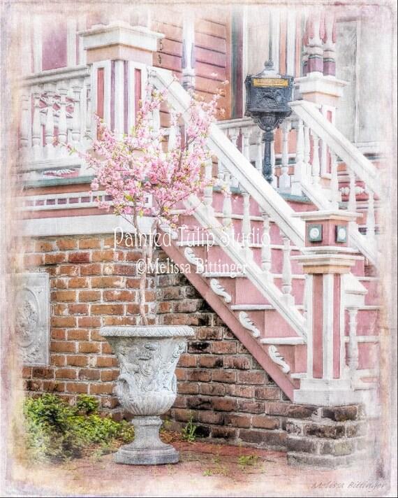 Pink Victorian Home Savannah Georgia Architecture Fine Art Photography Giclee Print or Canvas