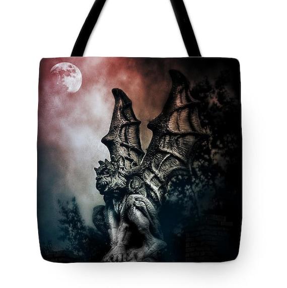 Goth Gargoyle Halloween Canvas Tote Bag, Gothic Tote,Dark Spooky Gothic Gargoyle, Book Bag,Reusable Shopping Bag, Farmer's Market Tote bag