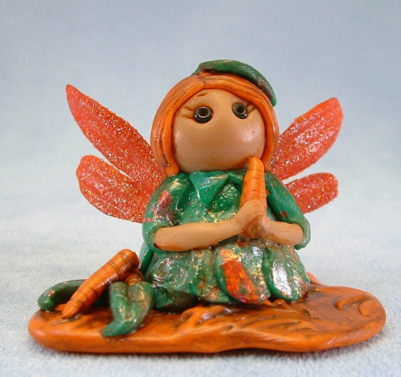 Fairy Garden Pixie Darci Polymer Clay Figurine OOAK, one of a kind