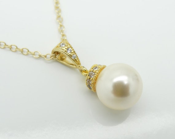 Pearl Necklace Bridesmaid Pearl Necklace Gold Bridesmaid Pearl Jewelry Wedding Jewelry  White Pearl Necklace Ivory Pearl Necklace