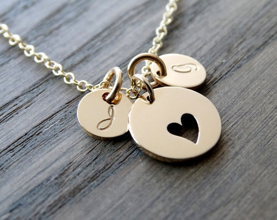 Gold Initial necklace, Heart Necklace with Initials, Mother Daughter Jewelry, Mothers day from daughte,r Personalized Mother's Necklace