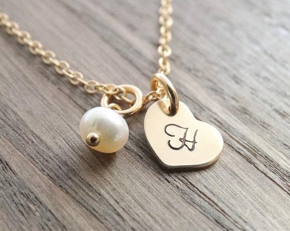 Bridesmaid Necklace Swarovski Crystal Necklace Pearl Necklace Bridesmaid Gift Set Birthstone Necklace wedding Jewelry GOLD Necklace