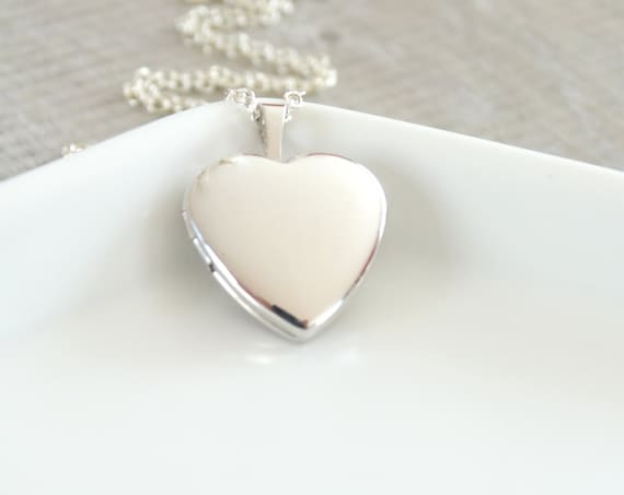 Heart Locket Necklace in Sterling silver Heart Locket Pendant Necklace Silver Heart Locket Little Heart Necklace Personalized Jewelry
