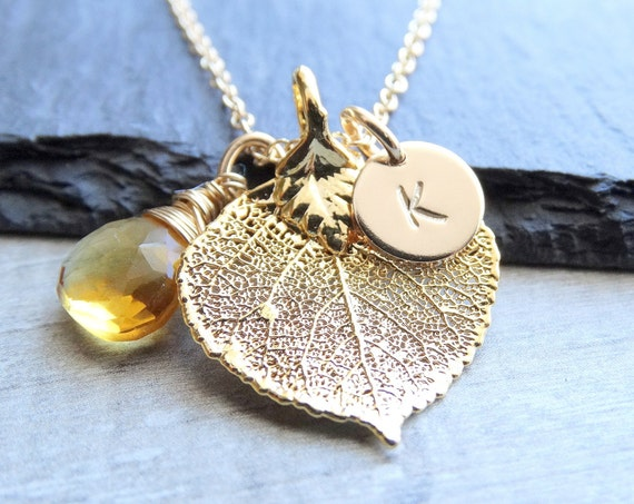 Gold Aspen leaf necklace, leaf jewelry, Initial Necklace, Personalized Jewelry, Bridesmaid gifts, Wedding Jewelry, bridal party gifts