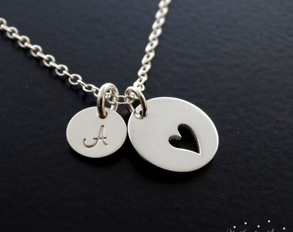 Heart Necklace silver, Heart Pendant, Love Necklace, Personalized Jewelry, Initial Necklace, Mother's Necklace
