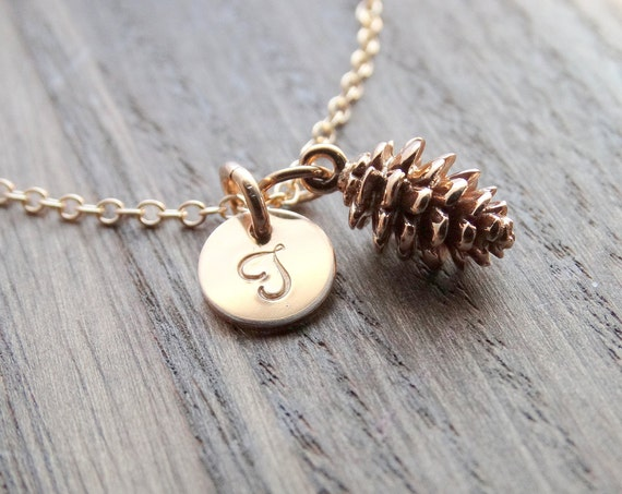 Pinecone necklace, Pinecone pendant, Gold Pinecone Necklace, Pine Cone Necklace, Pinecone Jewelry, Initial necklace, Fall Gifts women