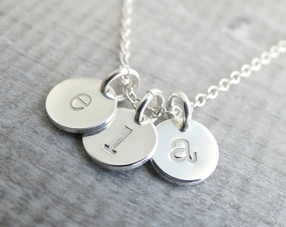 Personalized initial charms Initial necklace Sterling silver Initial Charm Necklace Monogram Necklace Personalized Jewelry Letter charms