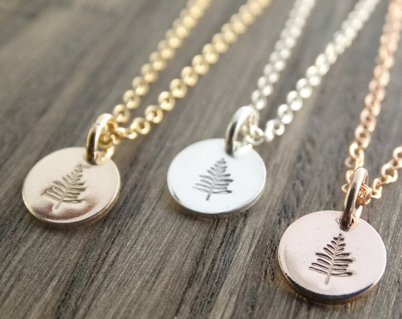 Silver Tree Necklace, Evergreen Tree Necklace, Tree Pendant Sterling Silver, Pine Necklace, Winter Tree Necklace, Rose Gold Necklace