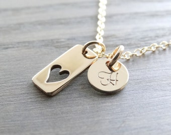 Personalized Wedding gift Mother's Necklace 14k Gold Heart necklace Mothers day gift Initial necklace gold heart necklace with initials