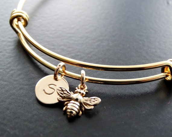 Bangle Bracelet Bumble Bee Bracelet Personalized Jewelry Initial Bracelet Bumble bee Jewelry GOLD initial bracelet bangle