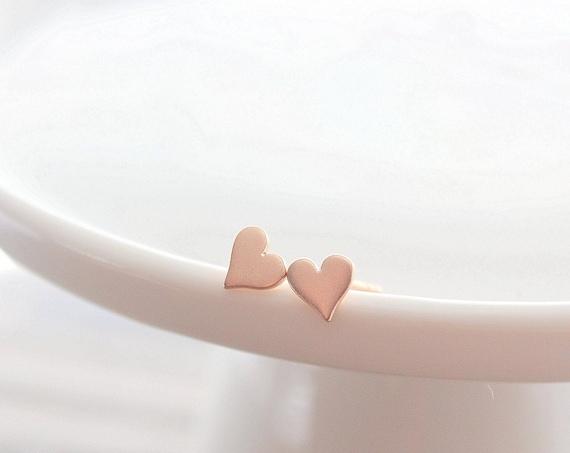 Heart Stud Earrings 925 Sterling Silver posts simple daily earrings cute studs silver rose gold earrings tiny stud earrings