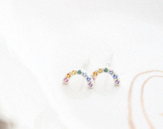 Super Cute Tiny Rainbow Studs • Little Rainbow Earrings • Sterling Multi Color Stone Earrings • Happy Little Studs