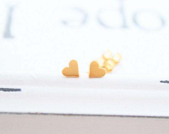 Heart Stud Earrings, Heart Earrings, 925 Sterling Silver posts, simple daily earrings, cute studs, rose gold earrings, tiny stud earrings