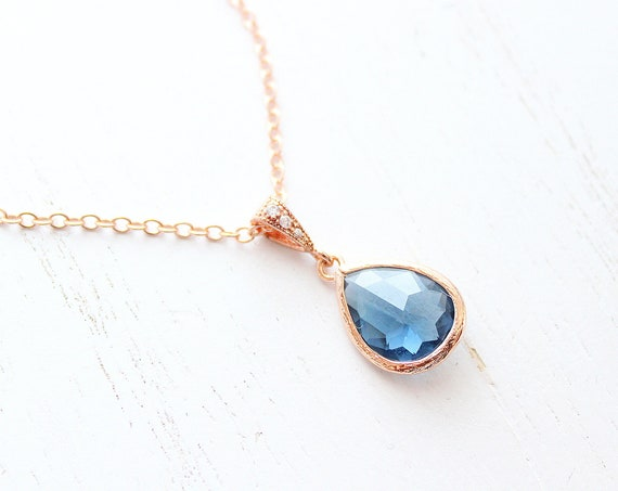 Blue sapphire Rose Gold Necklace for Bridesmaid Necklaces, Wedding Jewelry