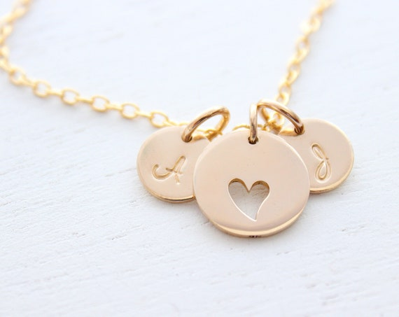 Heart necklace gold for mothers with initial charm, Mother gift, Mother daughter jewelry, Mothers day gift, mom birthday gift from daughter