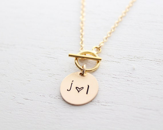 Personalized Toggle And Charm Necklace, Layering Necklace , Toggle Clasp Necklace, Couple necklace, Initial necklace, Heart necklace