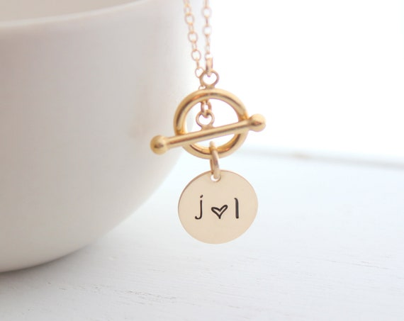 Toggle clasp Necklace, gold toggle chain necklace, Layering Necklace, Couple necklace, Initial necklace, Heart necklace, Christmas gift