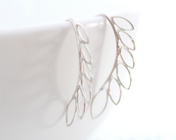 Silver Leaf Earrings, Geometric Earrings, Angular Leaf Ear Sweeps, Ear Climber Earrings, Vine Hook Earrings