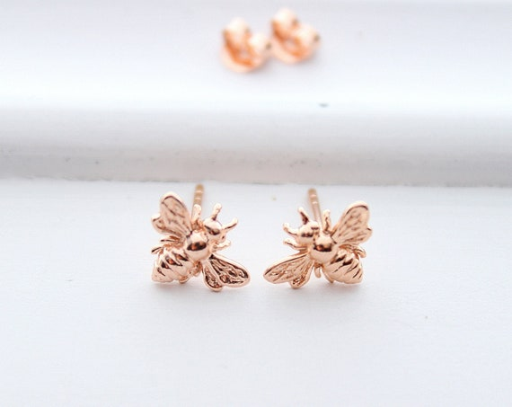 Bee earrings rose gold, bee earrings, honey Bee Earrings, bee Jewelry, bumble bee earrings, stud earrings